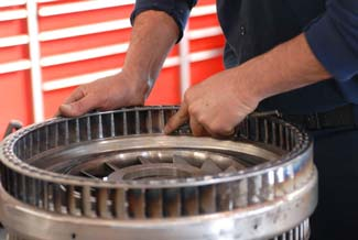 Working on a clutch plate